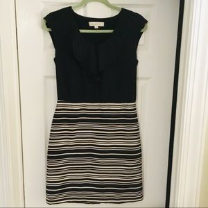 Loft blouse + striped pencil skirt dress, size 2